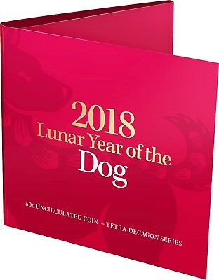 2018 50c Lunar Year of the Dog Tetra-decagon Unc Coin - in red folder