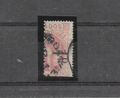 BARBADOS SG86 1878 (1d) ON HALF 5s DULL ROSE SURCHARGE TYPE 3a . FU