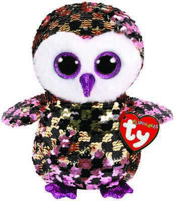 Ty Flippables Beanie Babies Boos Checks Owl Plush Soft Toy New With Tags