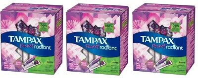 Tampax Pocket Radiant Super Unscented Tampons 3 Pack 42 Count Dmg Packages B063
