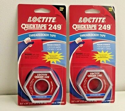"2 Loctite Quicktape 249 Threadlocker Tape Medium Strength 0.5"" x 24"""
