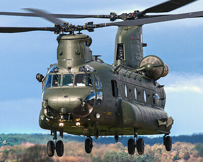 Raf Chinook Helicopter Lands For Refuel 11x14 Silver Halide Photo Print Buy One Give One Other Militaria