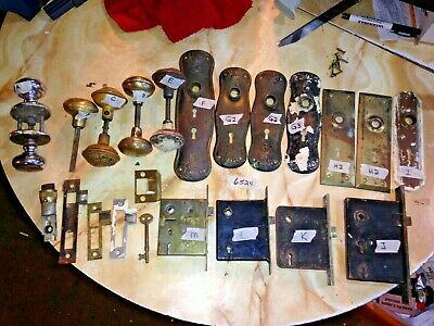 Vintage  Door Knobs and Plates and Latches and More Bundle of 15