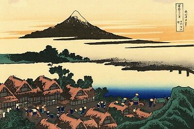 Repro Japanese Woodblock Print by Katsushika Hokusai 'Dawn at Isawa ....'