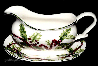 Charter Club Macy's Winter Garland * GRAVY BOAT & UNDERPLATE * Christmas EXC!!