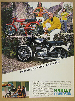 1967 HARLEY-DAVIDSON RAPIDO 125 motorcycle color photo vintage print