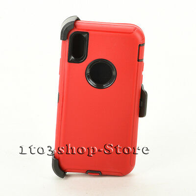 iPhone X iPhone Xs Hard Case w/Holster Belt Clip Fit Defender Red Black