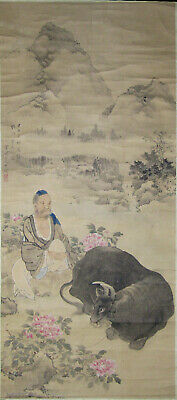 Antique Chinese Or Japanese Scroll Louhan And Buffalo, 18Th/19Th C, Buddha
