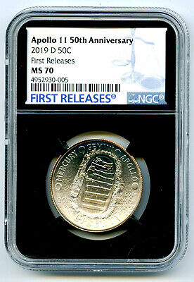 2019 D 50C Apollo 11 Ngc Ms70 50Th Anniversary Unc Half Dollar First Releases