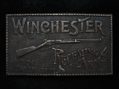 PA13102 VINTAGE 1970s **WINCHESTER REPEATING ARMS** GUN BRASSTONE BELT BUCKLE