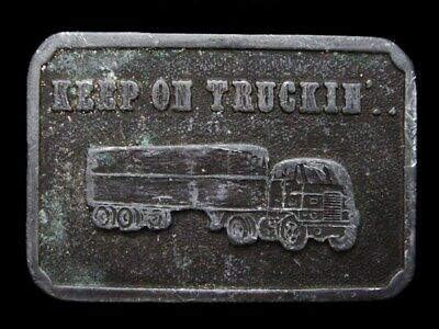 KE29147 VINTAGE 1970s ***KEEP ON TRUCKIN'*** (OLD SEMI-TRUCK) PEWTER BELT BUCKLE