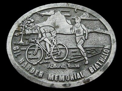 KF11133 VINTAGE 1970s **GIL HARDER MEMORIAL BIATHALON** PEWTER BELT BUCKLE