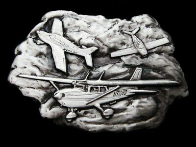 Ke21151 Vintage 1977 **Three Small Airplanes In The Clouds** Pewter Belt Buckle