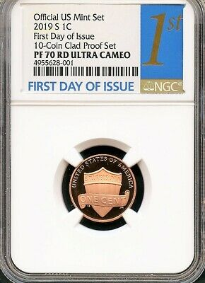 2019 S Lincoln Penny First Day Of Issue From 10-Coin Clad Set NGC PF70 RD UC 1st