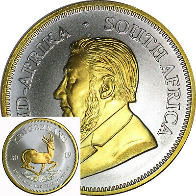 2019 1 Oz Silver Coin Krugerrand Africa 24Kt Gold With Capsule Free Ship