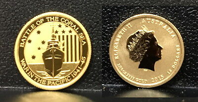 2015 Ww-Two 1942 Battle Of Coral Sea 1/10  Oz .9999 Cameo Gem Proof Bu Gold Coin