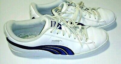 504f6f657c5 Puma Basket Mens Classic Patent Leather White Peacoat Blue Sneakers Shoes  Size 9