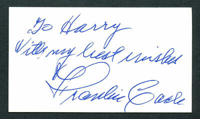 Frankie Carle (d. 2001) signed autograph 2x3.5 cut Pianist and Bandleader E197