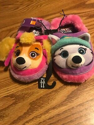 aa0389ad81758 NWT Girls Paw Patrol Everest and Skye Slippers House Shoes 11- 12 Toddler