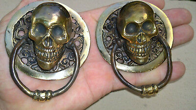 2 small round SKULL head ring pull Handle BRASS 7.5 cm day of the dead cabinet B