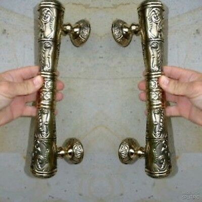 2 large engraved solid brass POLISHED door old style heavy 33 cm PULL handle B
