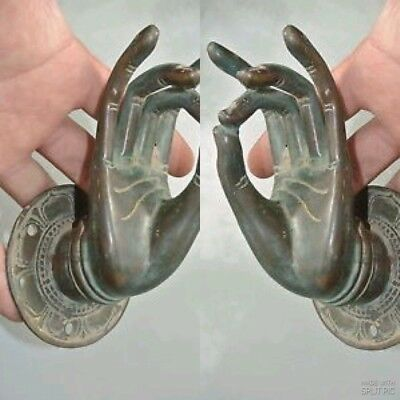 2 BUDDHA Pull handle hand brass age green patina door old style hook 8.5 cm B