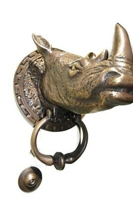 "RHINO heavy Door Knocker SOLID BRASS vintage age style house amazing 5.1/2"" B"