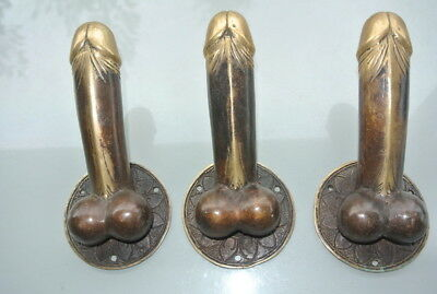 "3 DOOR PULL or HOOK medium heavy erect penis hand made brass 7 "" handle heavy B"