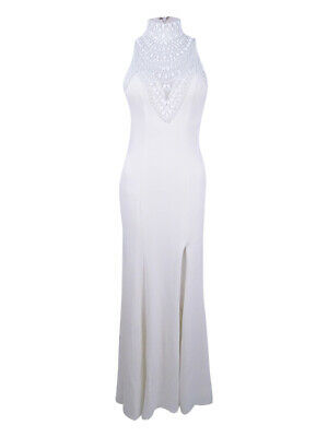 Betsy & Adam Women's Embellished Halter A-Line Gown 4, Ivory