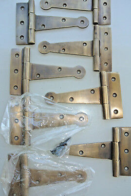8 small hinges screws old aged style cast solid Brass DOOR BOX heavy 10cm long B