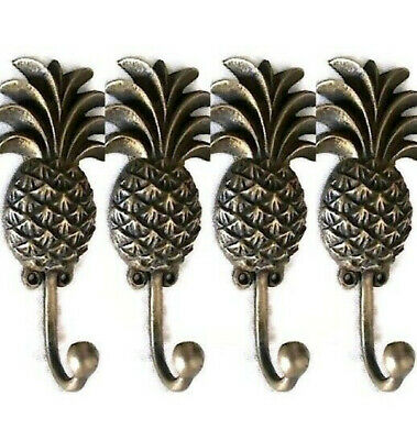 4 small PINEAPPLE COAT HOOKS solid age brass old vintage old style 13 cm hook B