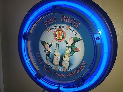 ***Piel Bros. New York Beer Bar Advertising Man Cave Blue Neon Wall Sign