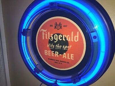 ***Fitzgerald New York Beer Bar Advertising Man Cave Blue Neon Wall Sign