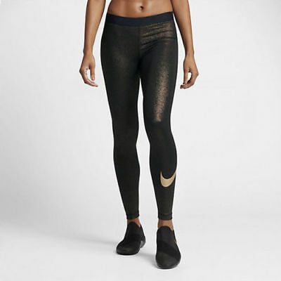 70c0d15110466 New Woman's Nike Pro Cool Training Tights Sparkle GOLD Metallic 881778-010  $60
