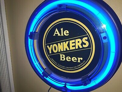 ***Yonkers New York Beer Bar Advertising Man Cave Blue Neon Wall Sign
