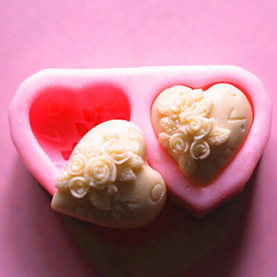 Soap Mould Big Heart Rose Flexible Silicone Mold For Handmade Clay Candy Candle