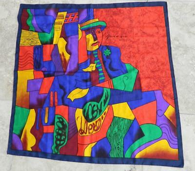 VINTAGE 1980s Satin Silk Picasso Abstract Retro Scarf