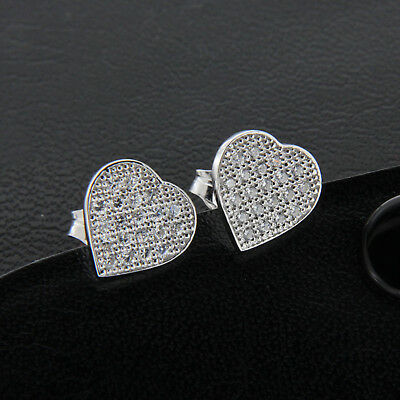0.40 CT Diamond 14k White Gold Finish Heart Shape Cluster Stud Earrings