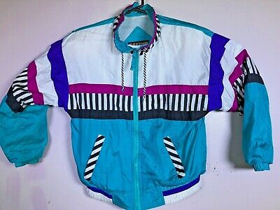 VTG River Edge RE sports wind tracksuit pants jacket TEAL Color Block size PS