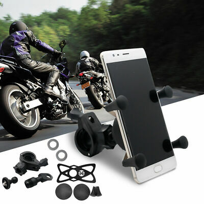 Universal Motorcycle Mobile Phone Holder USB Charge Motorbike X Grip Clamp Mount
