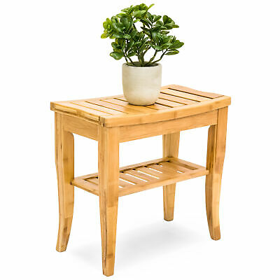 BCP Bamboo Bathroom Shower Seat Bench Stool w/ Storage Shelf
