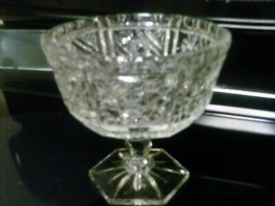 Crystal compote hexagon base of pedestal heavy glass