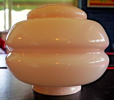 Vintage Art Deco stepped PINK glass beehive light / lampshade