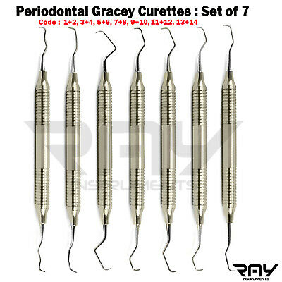 Set Of 7 Dental Gracey Curette Perio Canal Preparation Instruments Calculus Lab