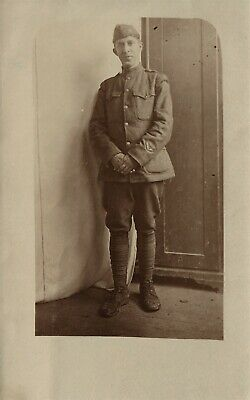 Us Army Soldier Wwi Era Antique Real Photo Postcard Rppc
