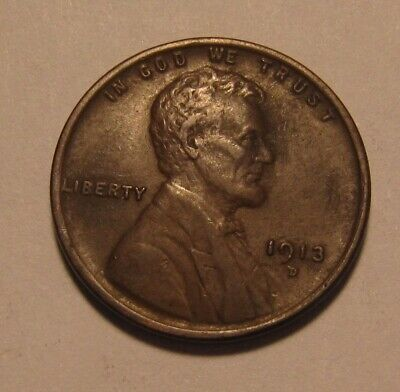 1913 D Lincoln Cent Penny - Extra Fine Condition - 7SA