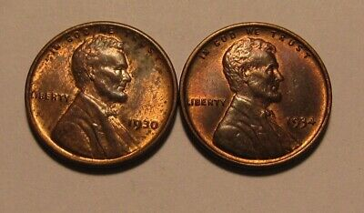 1930 & 1934 Lincoln Cent Penny - Red/Brown AU+ Condition - 20SA