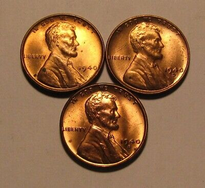 1940 1940 D 1940 S Lincoln Cent Penny - Mixed BU Condition - 30SA