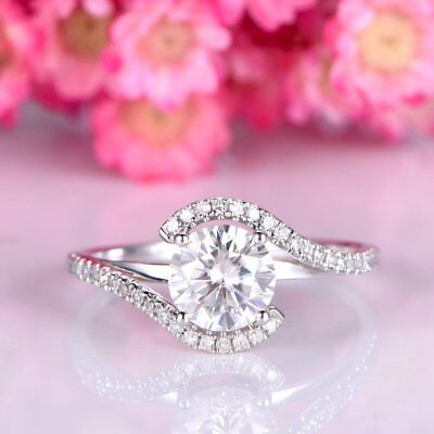 2Ct Round Near White Moissanite Ring Forever Engagement Ring 925 Silver VVS