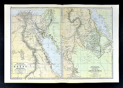 1883 Weller Map - Egypt Nubia Abyssinia - Cairo Great Pyramids Mt Sinai Red Sea